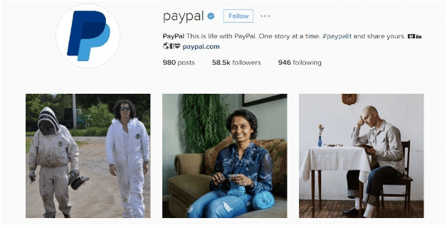 Instagram for business - PayPal Instagram Page