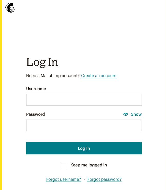 Mailchimp Login Screen