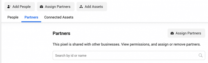 Assign Facebook Pixel to a Partner