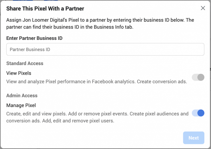 Facebook business manager share pixel with a partner