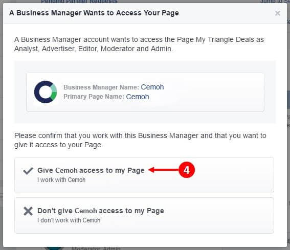 facebook grant page access
